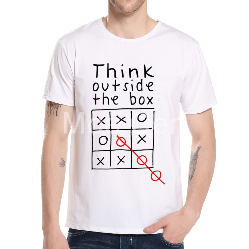 Prueba de pensar fuera de la Caja camiseta divertida juego de moda camiseta hombres 3d carta diseño Top Tee pantalón corto Casual manga niño Tee L8-A-43