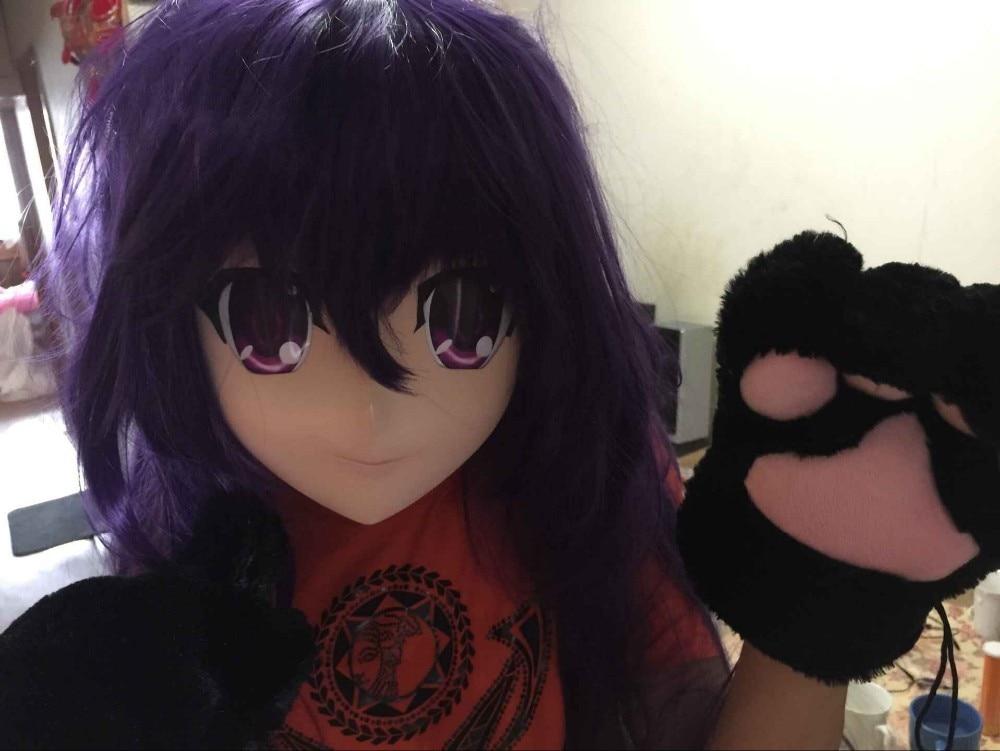 (KM8241) súper calidad hecha a mano de resina femenina cabeza completa Cosplay japonés juego de rol anime kigurumi máscara muñeca travesti