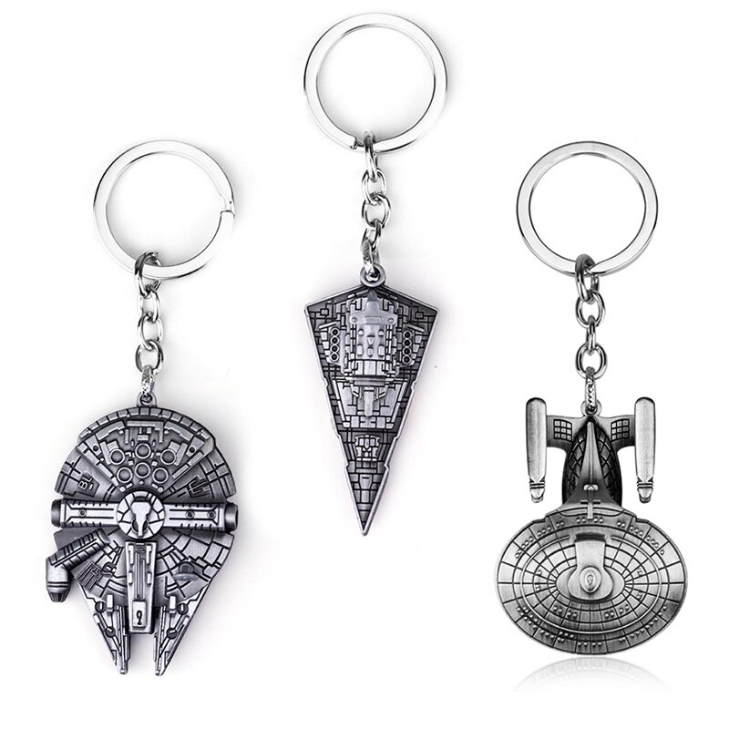LLavero de moda de metal de Star Wars, joyería de película, llavero con signo de nave espacial, llavero con colgante de aleación de halcón, accesorios de joyería para hombre