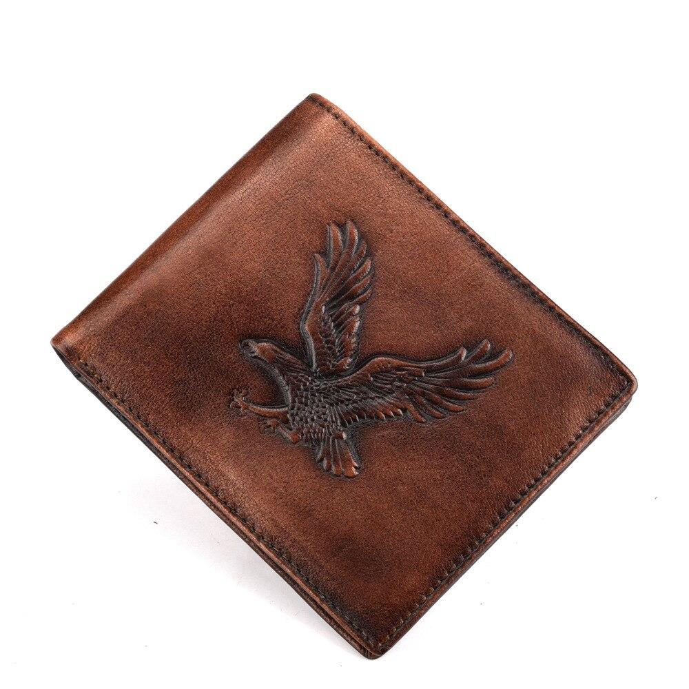 Cartera plegable de piel Natural de gran calidad, clip de adorno de águila para hombres, cartera para tarjetas y monedas, billetera corta de cuero genuino Retro