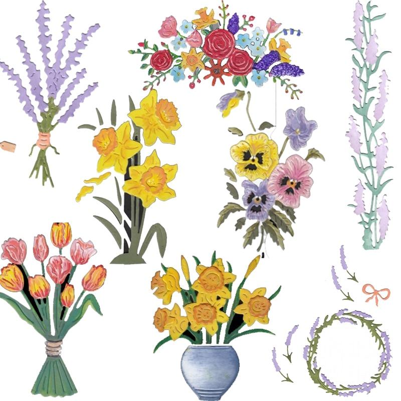 Wild Flower Lavender Lily Tulip Rose Metal Cutting Dies Stencils For DIY Scrapbooking Decoration Embossing Card Craft Die Cut