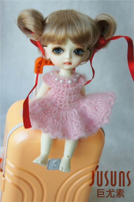 JD034 1/8 muñeca mohair sintético pelucas 5-6 pulgadas lindo Peluca de bolas de muñeco pequeño Accesorios