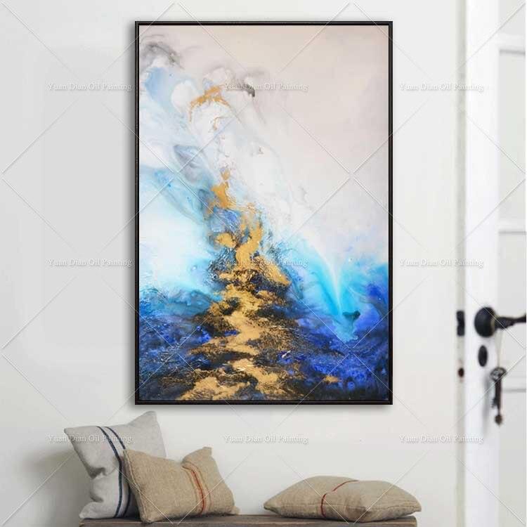 Pintura al óleo abstracta de arte de pared de nuevo estilo YD dorada Brige azul pintura al óleo 100% pintura al óleo pintada a mano sobre lienzo para decoración del hogar