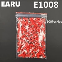 100pcs e1008 tube insulating insulated terminal 1mm2 18awg cable wire connector insulating crimp e black yellow blue red green