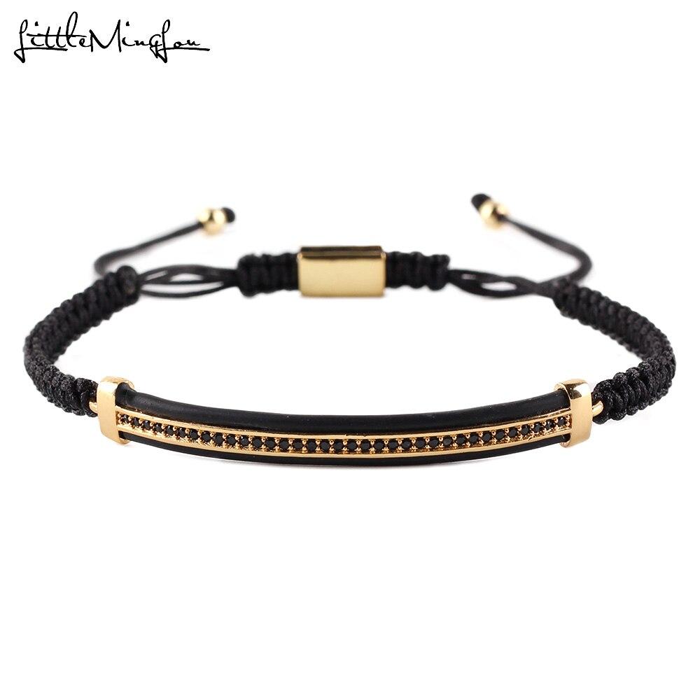 Lujo CZ negro zirconia tubos largos encanto trenzado macramé hecho a mano pulsera hombres pulseras y brazaletes para mujeres accesorios de joyería