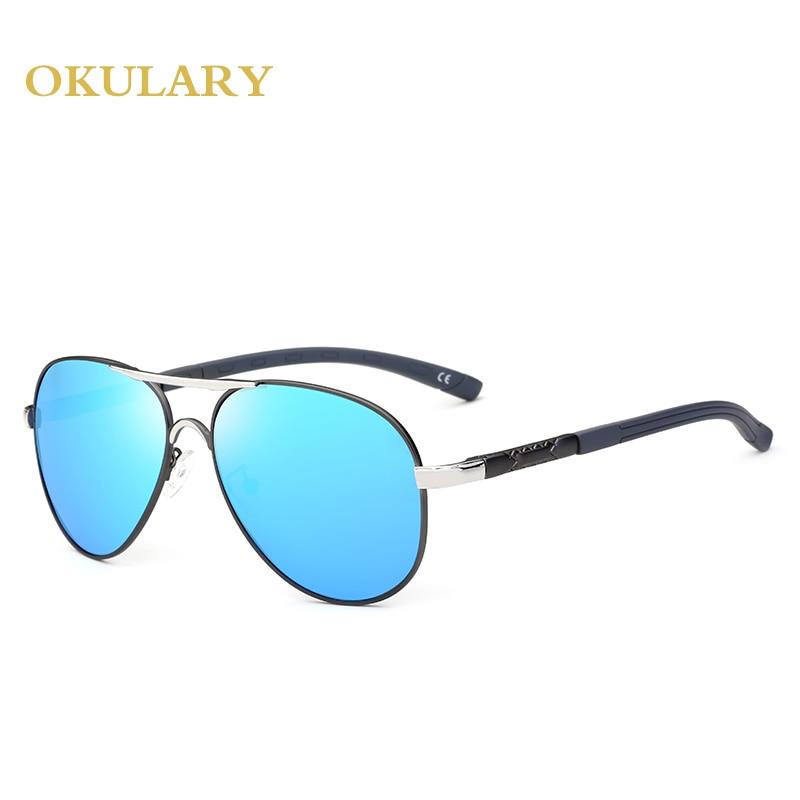 Новые мужские овальные очки для вождения, поляризованные зеркальные солнцезащитные очки, черный/коричневый/синий цвет, UV400 с коробкой