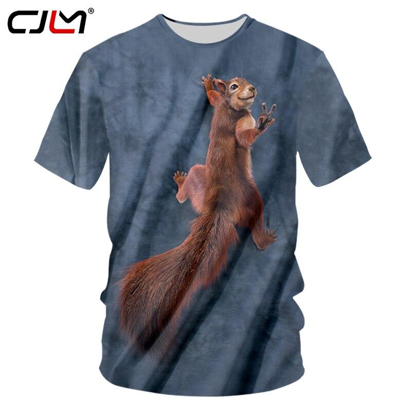 CJLM 2018 camiseta fresca de verano para hombre, camisetas divertidas con estampado de ardilla marrón 3d, ropa informal estilo hip hop, camiseta suelta 7XL