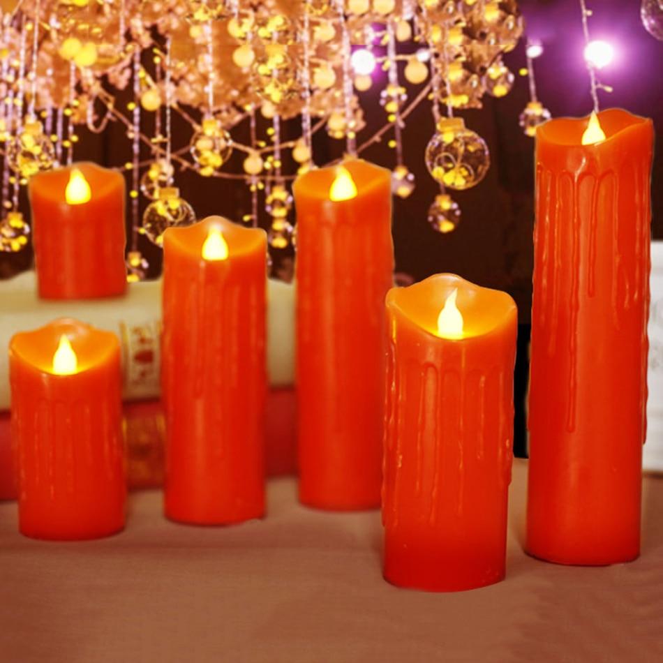 Красные восковые светодиодные свечи со слезоточивыми капельками, беспламенные электронные Свадебные свечи декоративные, рождественские/Хэллоуин Свеча Освещение