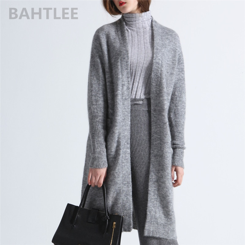 BAHTLEE Spring Autumn Women's Mohair Cardigan Sweater With Pocket V-Neck Knitted Solid Long Sleeves Wool Coat Casual Lazy Style enlarge