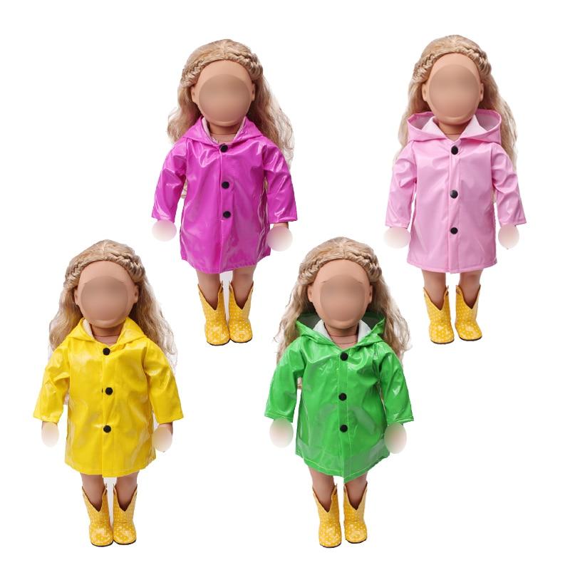 18-дюймовая Одежда для кукол для девочек, водонепроницаемый плащ из искусственной кожи, пальто, американское платье для новорожденных, детские игрушки, размер 43 см, детские куклы c539
