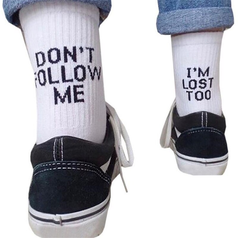 DropShip Männer Lustige Socken Harajuku Humor Wort Gedruckt Socken Kreative Hip Hop Streetwear Skateboard Unisex Crew Glücklich Weiße Socken