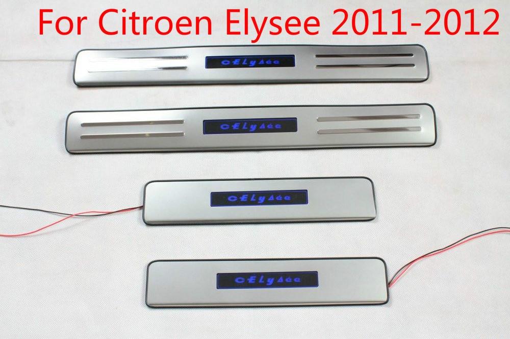 Pour Citroen Elysee 2011-2012 Avec Lumière Bleue LED HAUTE qualité en acier Inoxydable plaque/seuil de Porte De Voiture-Style bâches de voiture