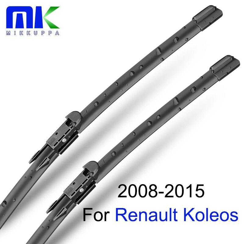 Escobillas de limpiaparabrisas Mikkuppa para Renault Koleos 2008-2015, par de parabrisas de 24 pulgadas + 19 pulgadas, accesorios para automóvil