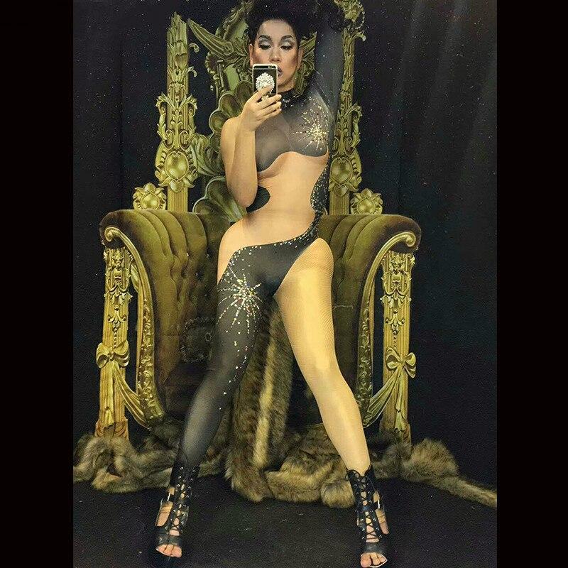 بدلة رياضية سوداء متلألئة ، طباعة واحدة ، بدلة امرأة راقصة مغنية ، بدلة ملهى ليلي ، سراويل ضيقة للحفلات ، ملابس المسرح