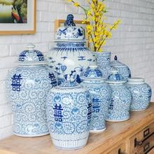 Jingdezhen Old Blue And White Ginger jar New Chinese temple jar Antique Study Wedding Decorations porcelain ceramic jar vase