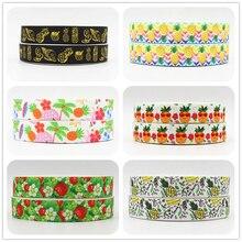 Q&N ribbon 16mm 22mm 25mm 38mm 50mm 75mm fruit pineapple Strawberry printed grosgrain ribbon 50yards/roll for headband hair tie