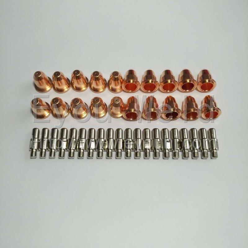 20pcs (PD0116 10pcs + PR0110 10pcs) Hafnium Electrode + Tip for S45 CUT55 PT-40 PT40 IPT-40 PT 40 Plasma Cutting Torch