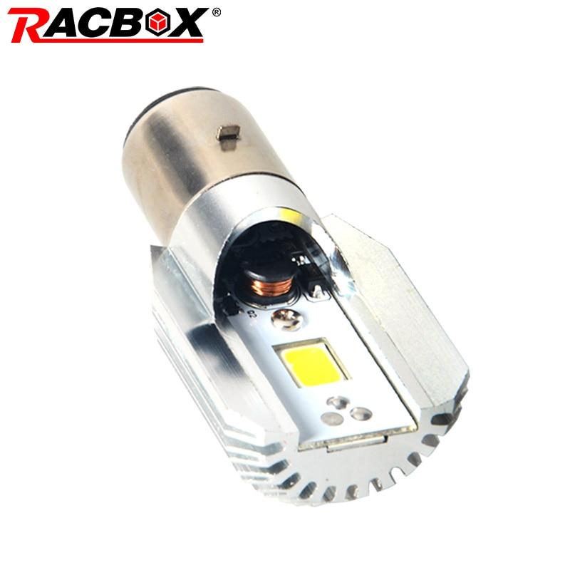 RACBOX White COB Motorcycle LED Headlight Bulb BA20D H6 Motorbike Moped ATV Fog Lamp White 6000K Light Scooter 12V 6W 800LM M2S