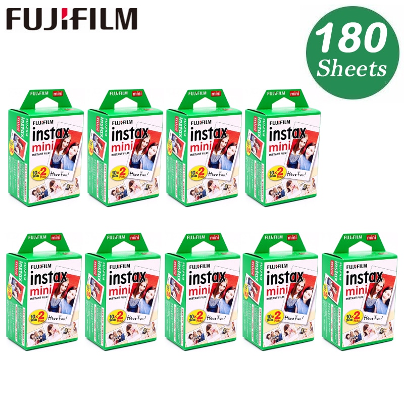 Lámina Original 180 de Fuji Fujifilm Instax Mini 8, papel fotográfico instantáneo de película blanca para 7s 8 9 90 25 55 Share SP-1 SP-2 cámara instantánea
