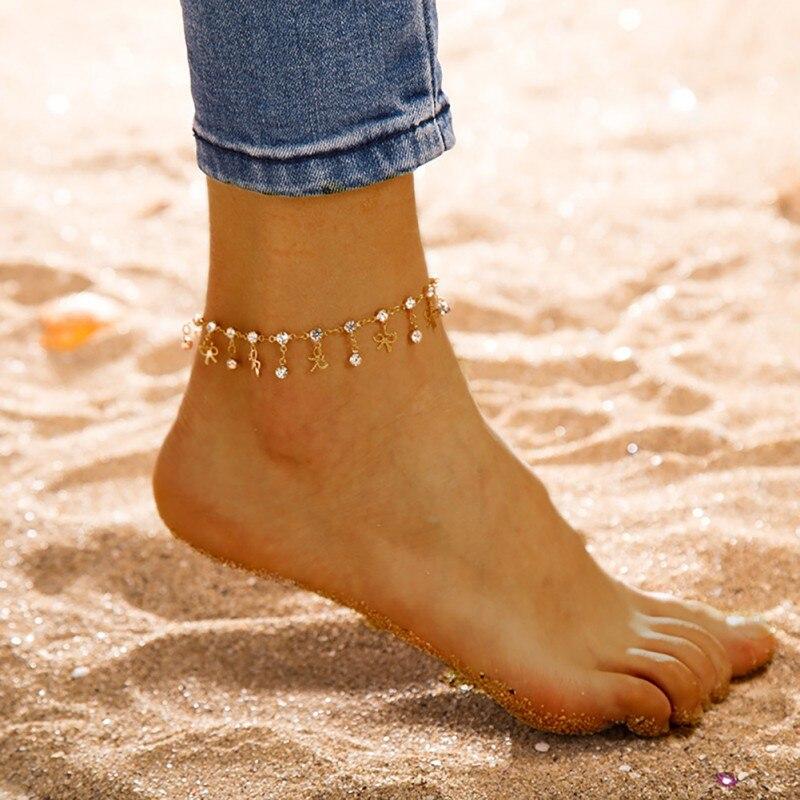 Moda Retro oro mujeres redondo arco colgante tobillera gota pulsera Bohemia pierna joyería sandalias regalo
