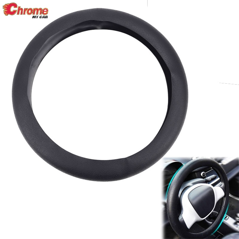 Universal Silicone Steering Wheel Cover Black Leather Texture Car Truck Vehicle Auto Soft Glove Styling Accessories Decoration