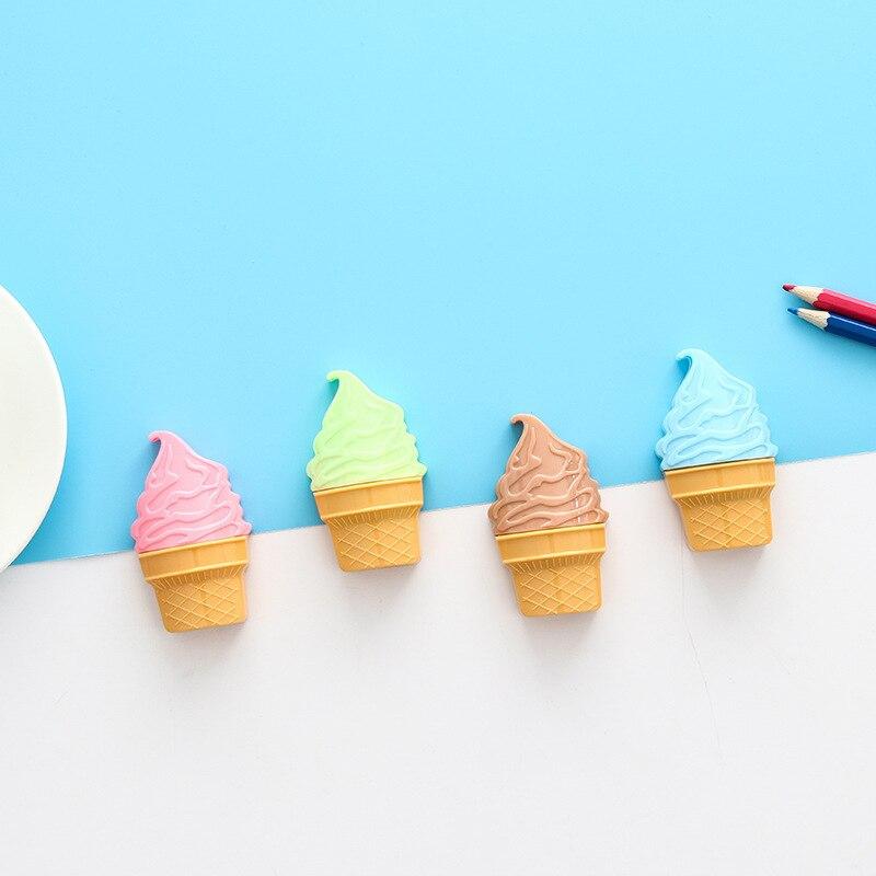 1 Pcs Double Hole Plastic Pencil Sharpener Creative Kawaii Cartoon Ice Cream Pencil Sharpener for Student Stationery Gift
