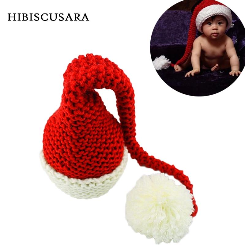 Зимняя вязаная шапка для новорожденных красно-белая Рождественская Детская длинная Шапка-бини вязаная крючком шапка для младенцев с Санта-...