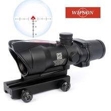Mira telescópica de caza ACOG 4X32 fibra óptica Real rojo verde iluminado Chevron vidrio grabado retícula óptica táctica vista