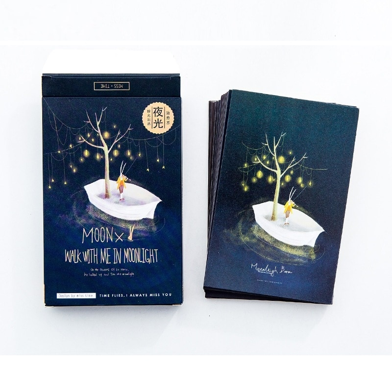 30 feuilles/ensemble clair de lune Baron carte postale lumineuse carte de voeux carte de Message carte cadeau danniversaire