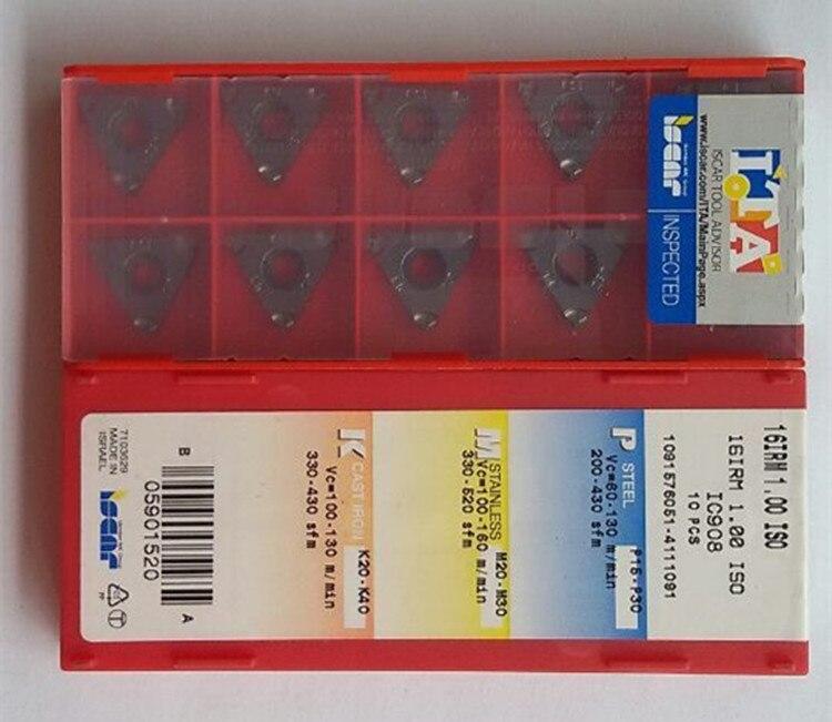 Iscar inserções de leitura, inserções de carboneto para leitura e cnc 16irm ag60 ic908 cnc 16erm ag60 ag55 1 1.5 2 2.5 3 ic908 ferramenta de torno