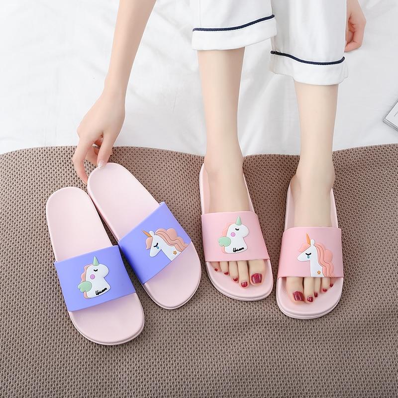 Zapatillas de verano para mujer, chanclas de unicornio de dibujos animados, chanclas antideslizantes EVA, zapatillas suaves klapki Pantoufles, Sandales para mujer
