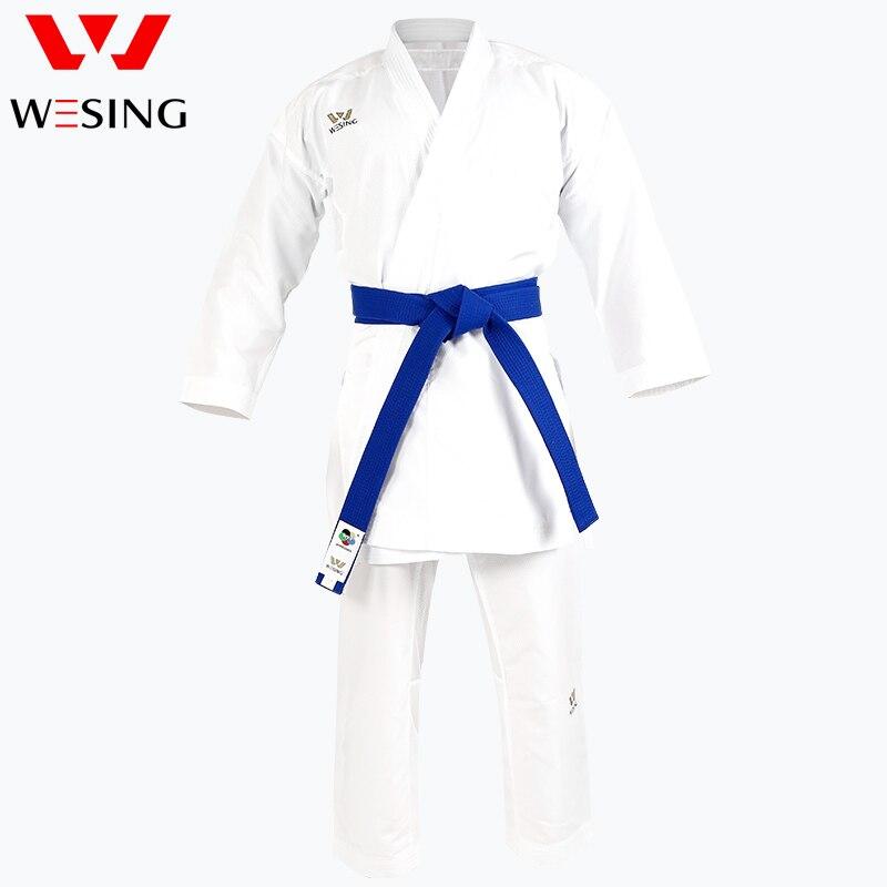 Wesing WKF kárate gi, uniforme de karate para hombres, traje de karate para competencia kumite y kata karate gi