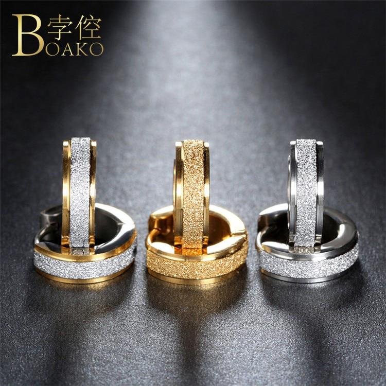 BOAKO Aros 316L Stainless Steel Earrings for Women Men Fashion oorbellen Punk Hoop Piercing Round Earring Ear Stud Jewellry Z4