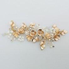 Jonnafe boho folha de ouro cabelo videira nupcial bandana pérolas casamento jóias grinalda cabelo feminino headwear feito à mão
