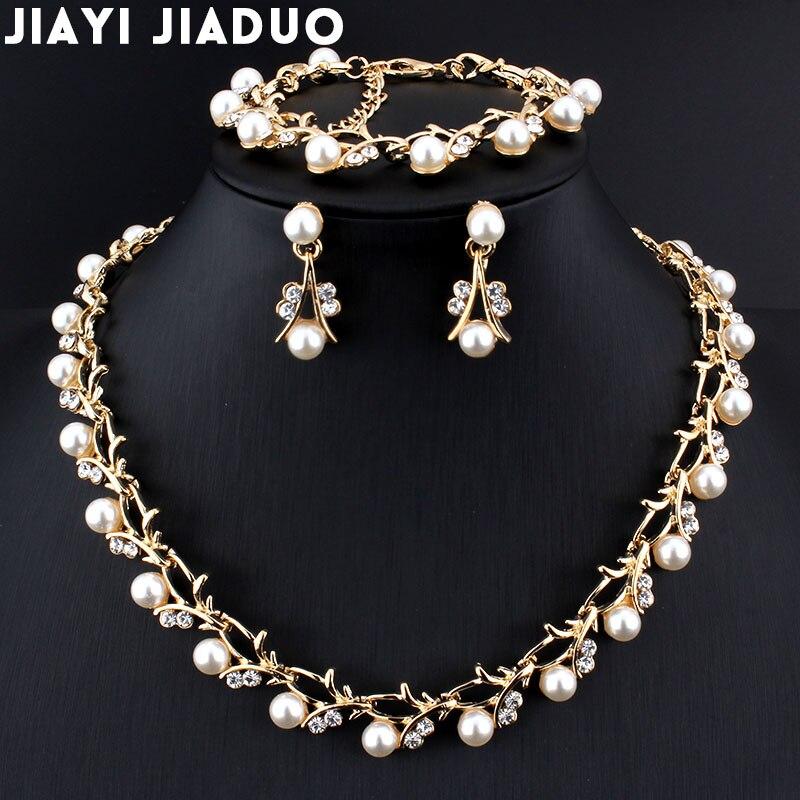Лидер продаж, имитация жемчуга, свадебное ожерелье, серьги, браслет, набор свадебных ювелирных изделий, золотой цвет, женская одежда, элегантные вечерние подарки
