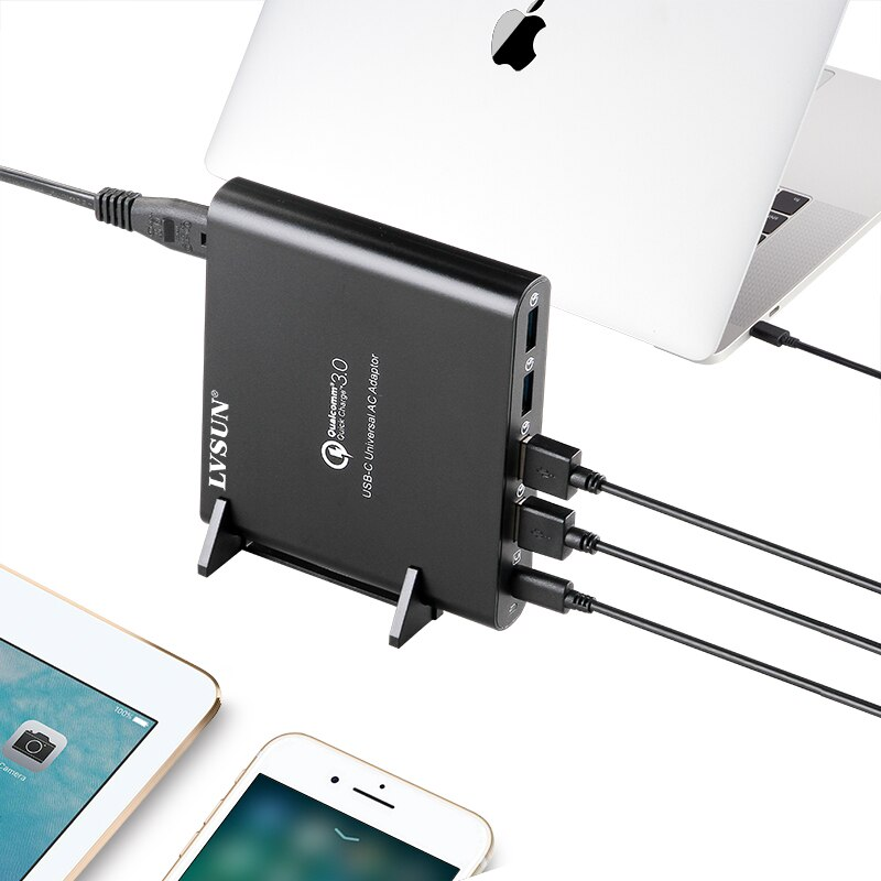 LVSUN QC 3,0 телефон планшет ноутбук type-c зарядное устройство с type c USB-C USB C адаптер для Macbook 13 15 Spectre 13 Yoga 5 Xiao mi