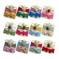 new 2pcsset newborn toddler baby girls headwraps bows flower knot nylon turban headband hair accessories birthday gifts sets