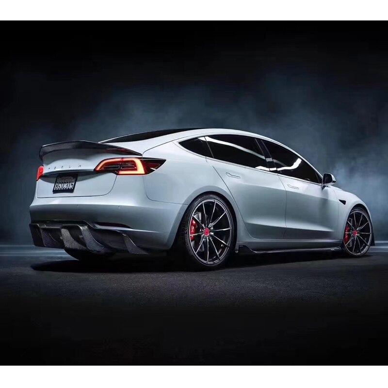 Für Tesla Modell 3 2017-2020 hinten flügel spoiler, stamm Boot Flügel spoiler carbon 3M kolloid installation