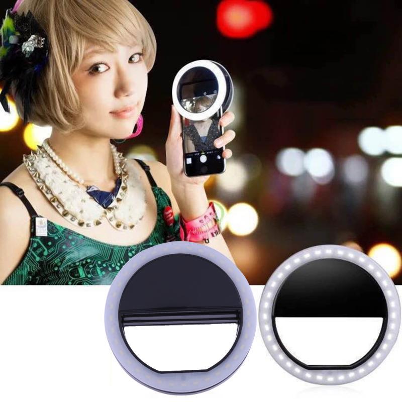 Anillo de luz LED recargable para Selfie para iPhone LED Luz de relleno para Flash Selflife lámpara Cámara lente Fotografía Móvil Flash Spotlight