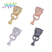 Juya bricolage léopard panthère Lion tête connecteur attache serrure fermoir accessoires pour la main couture perles perles fabrication de bijoux