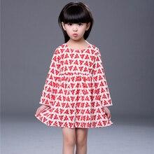 Spring Autumn Children Girls Dresses Beautiful Maple Leaf Printed Long Sleeve Cotton Princess Dress Kids Casual Clothes Vestidos