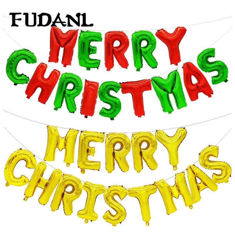 Globos de 16 pulgadas dorados, dorados, rosas y dorados, con alfabeto, Globos de letras de papel aluminio, suministros de decoración de fiesta de Feliz Navidad, Globos de bola de aire, 14 Uds.
