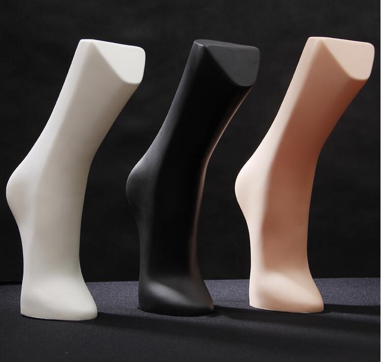 Venta al por mayor maniquí con piernas masculinas brillantes caja de 34cm 3 colores Pie de plástico maniquí para hombre para la exhibición del modelo del calcetín, una pieza, M00545
