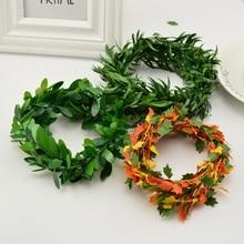 Guirlande en soie de 3.75M   Fil de fer, feuilles vertes, vigne de fleurs artificielles faites à la main, rotin pour décoration de mariage, couronne de fleurs en bricolage