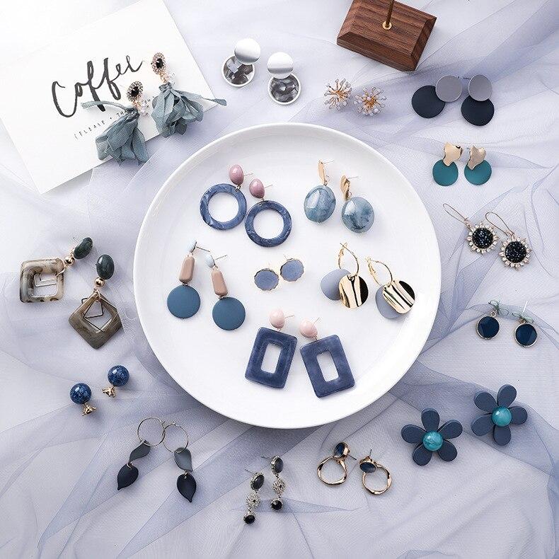 2019 Korea Blue Series Geometric Round Square Acrylic Stone Drop Earrings For Women Fashion Jewelry Leaf Heart Flower Earings