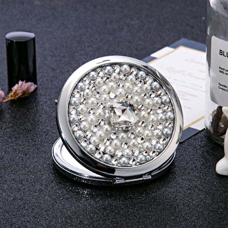 Бесплатная гравировка по индивидуальному заказу, мини карманное косметическое зеркало для макияжа, складное увеличительное компактное зе...