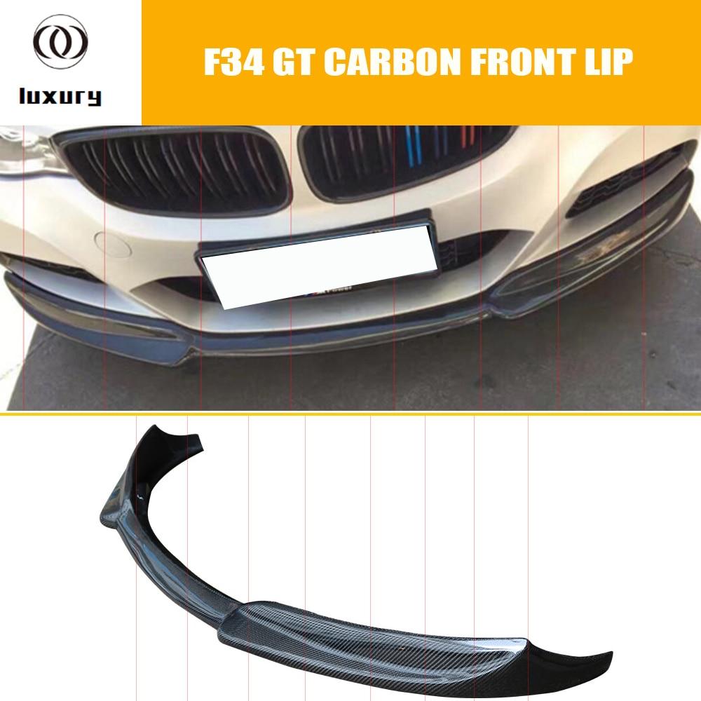 Borde frontal de fibra de carbono estilo V para BMW F34 320i GT 328i GT 335i GT 340i GT con paquete M 2012-2017
