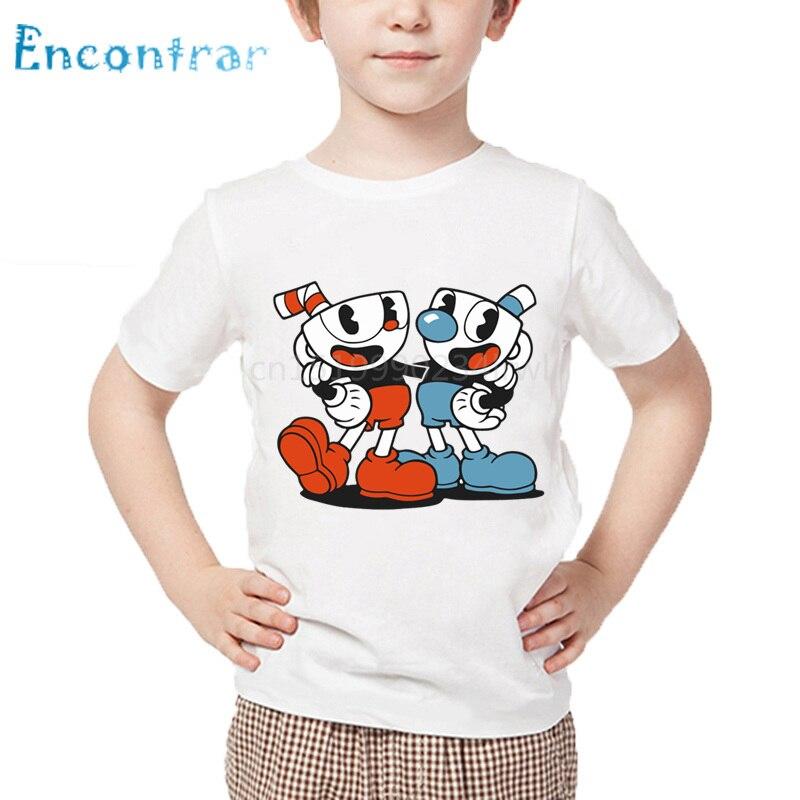 Camiseta con estampado de Cuphead de dibujos animados para niños, camisetas de verano con diseño de Cuphead para niños y niñas, camiseta blanca informal, ooo5199