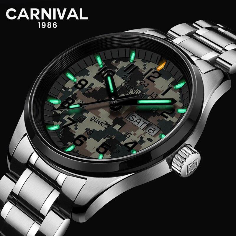 Suiza relojes de cuarzo tritio T25 luminosa de los hombres del reloj del deporte carnaval Top marca de lujo relojes militares impermeable 2018