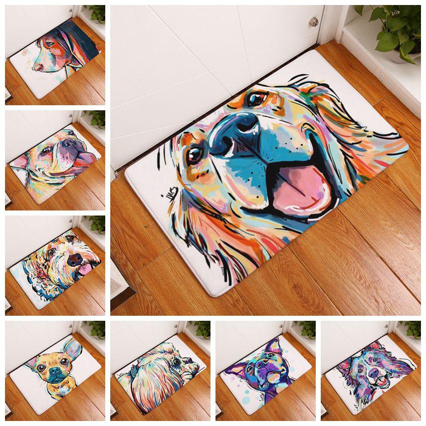 2017 Modern Style Anti-Slip Lovely Carpets Pet Dog Print Mats Bathroom Floor Kitchen Rugs Animal Front Door Mats 40X60/50X80 cm